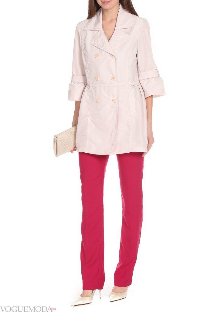 модный двубортный розовый