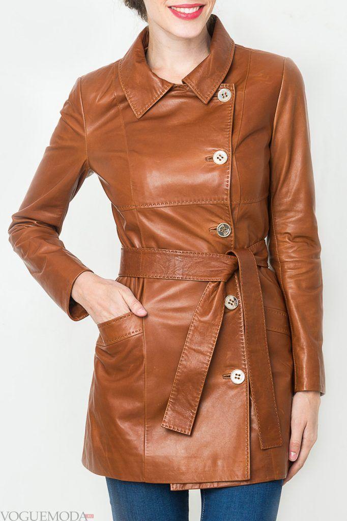 модный кожаный с поясом