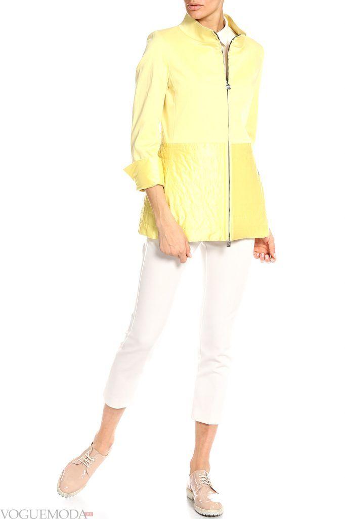 модный женский плащ желтый