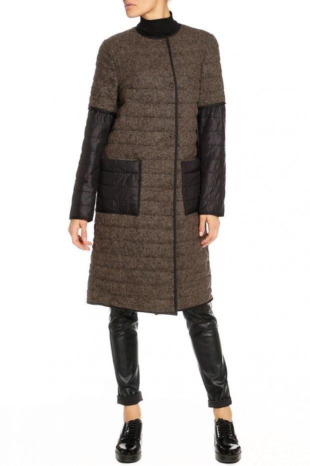 повседневный образ с темным стеганым пальто