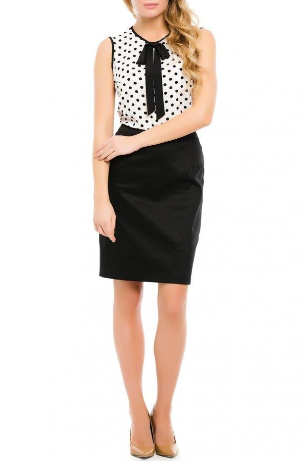 черная юбка с блузой и бантом