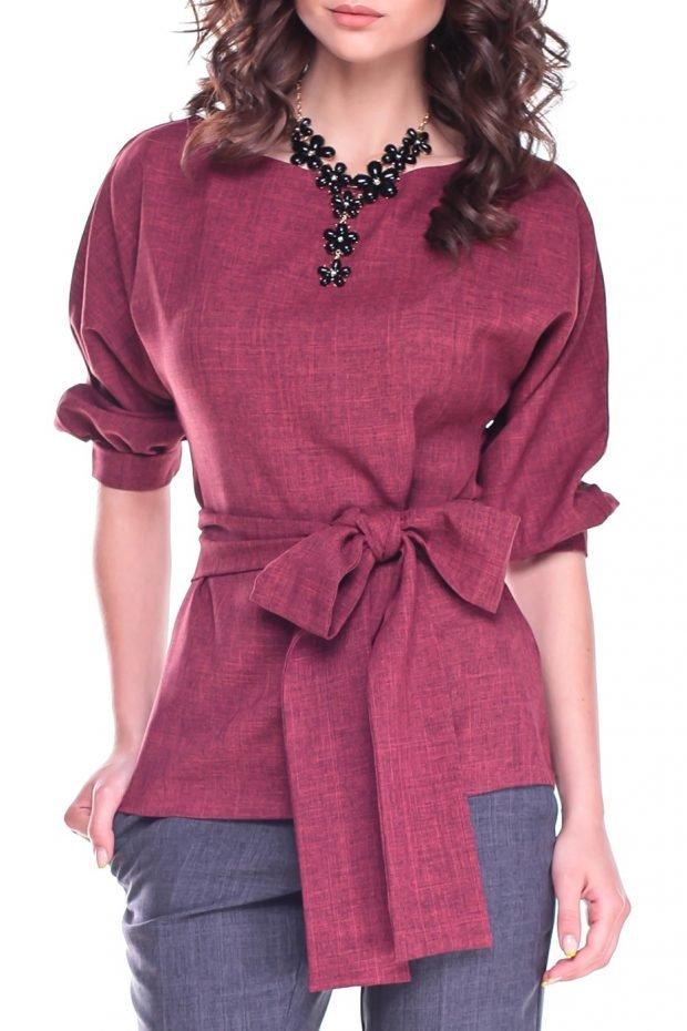 образ с фиолетовой блузкой и бантом