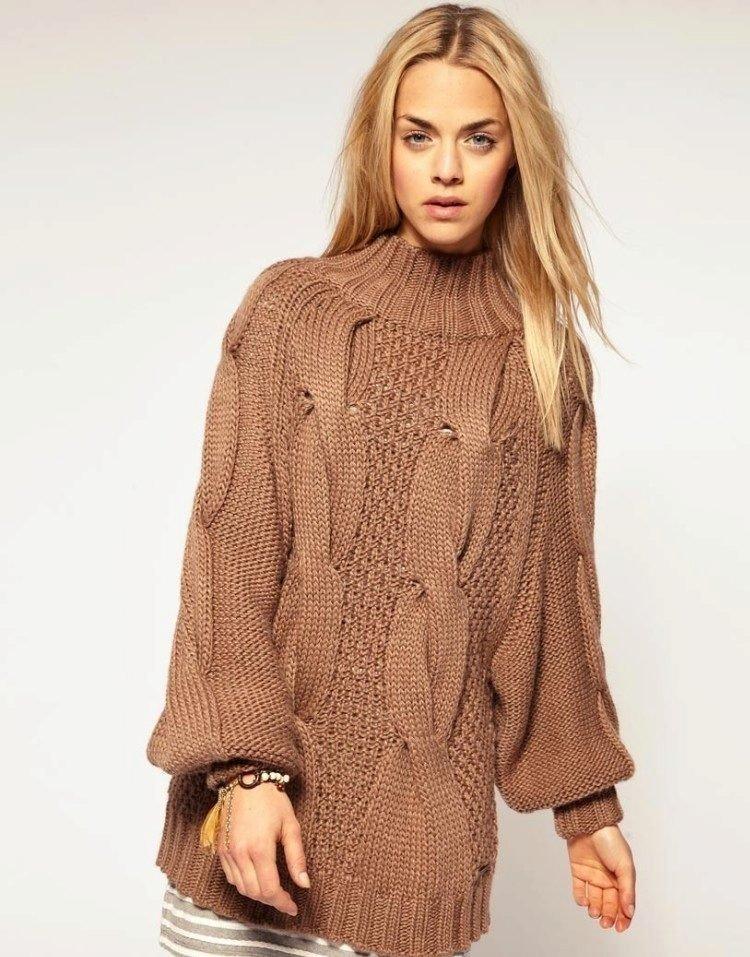 свитер оверсайз коричневый