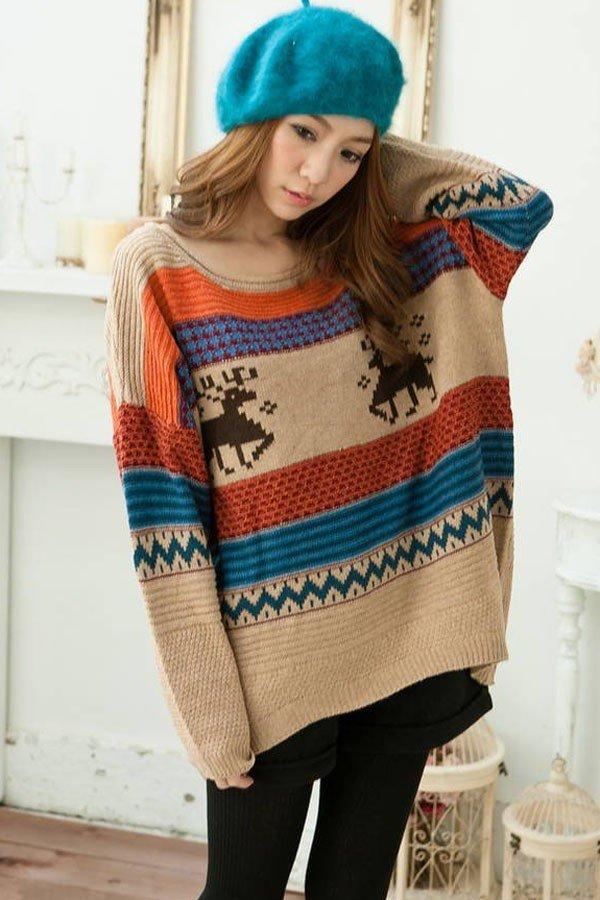 свитер оверсайз в полоску