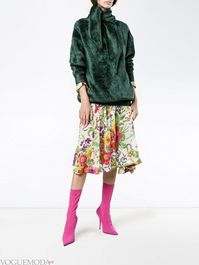 меховой свитер зеленый