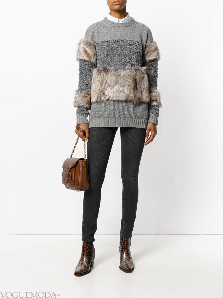 меховой свитер с декором