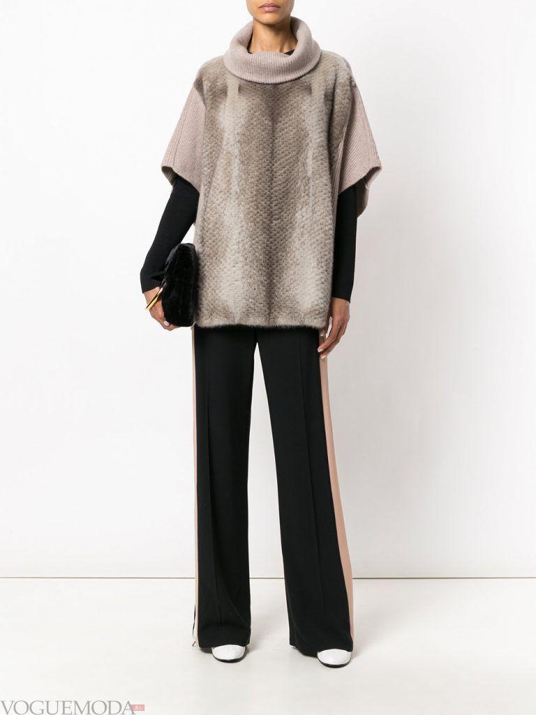 меховой свитер с коротким рукавом