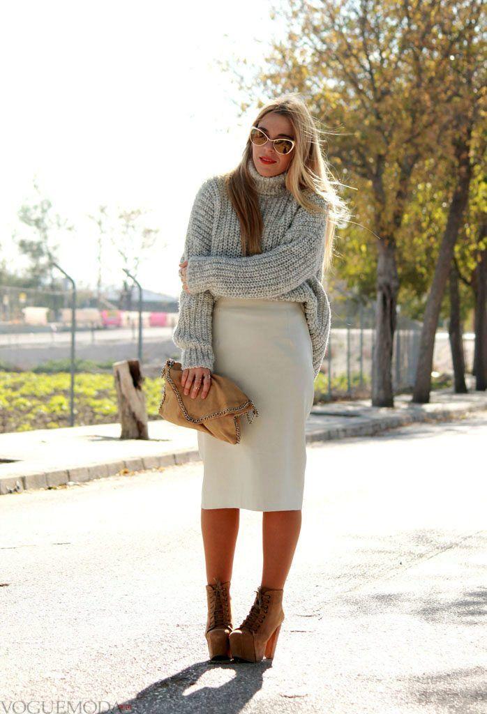 свитер крупной вязки серый