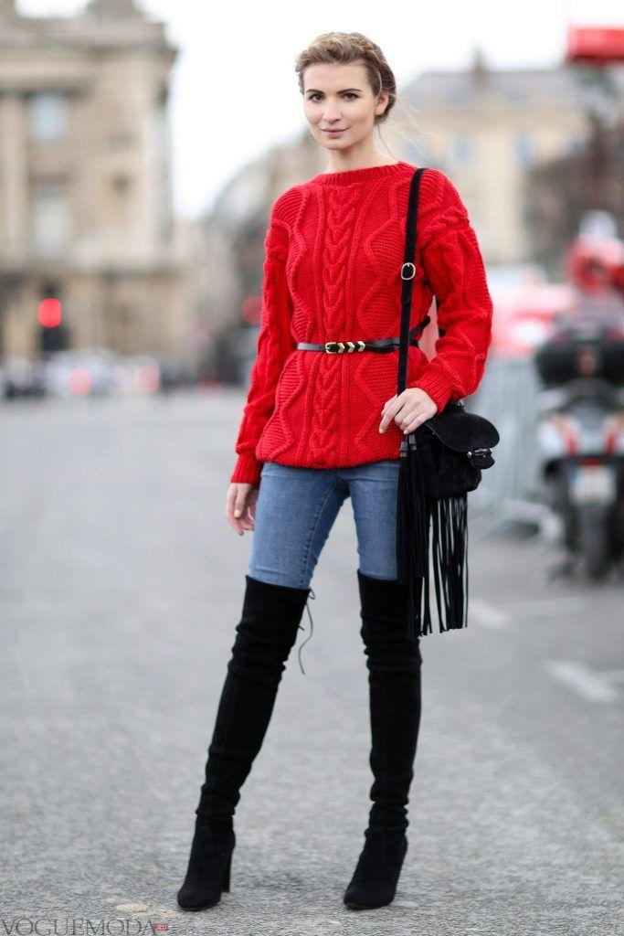 свитер крупной вязки с поясом