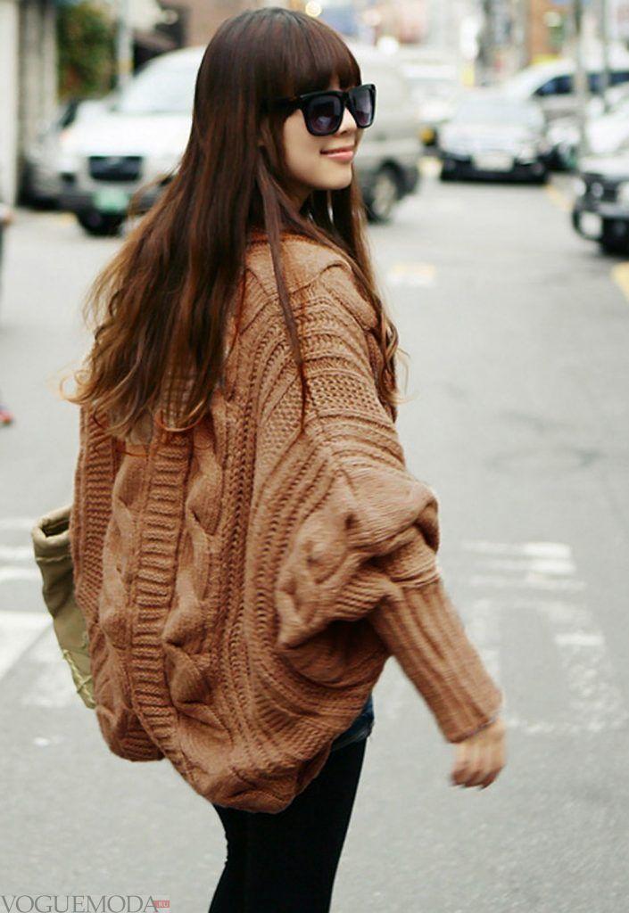 свитер крупной вязки коричневый