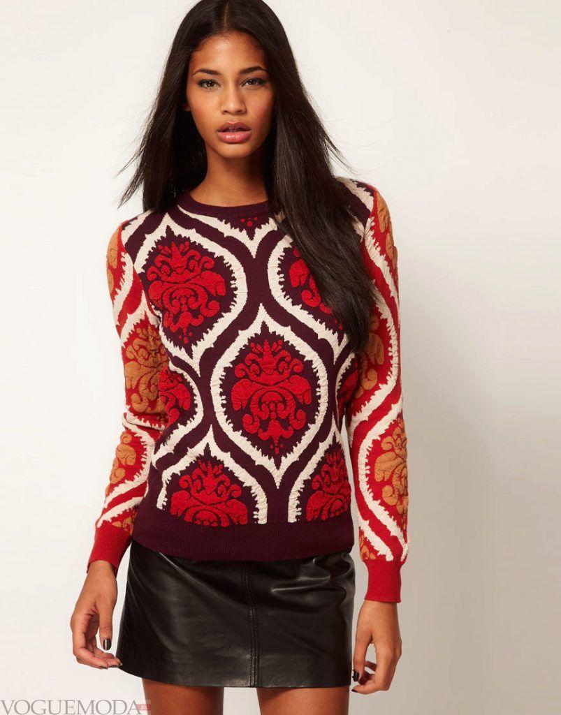 модный свитер яркий