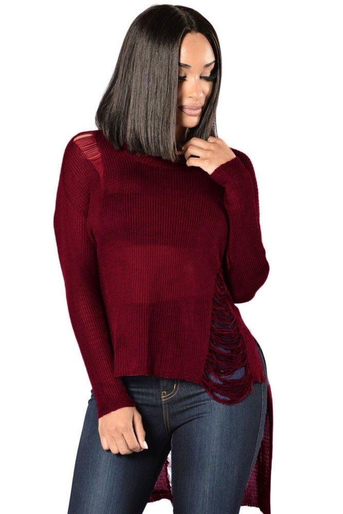 модный свитер бордовый