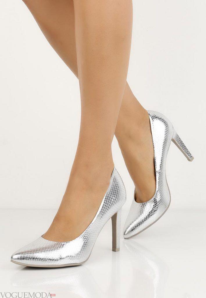 туфли лодочки серебро на каблуке