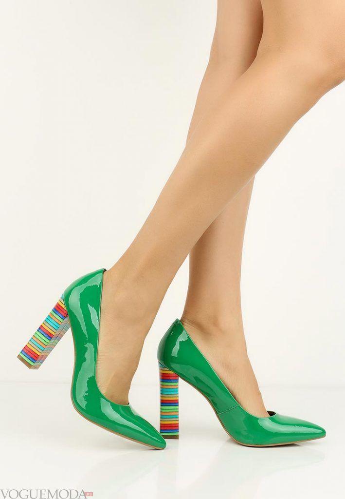 туфли лодочки зеленые на модном каблуке
