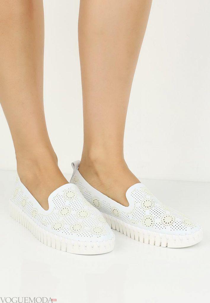 туфли лоферы белые без каблука
