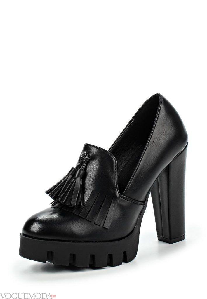 туфли на толстом каблуке черные