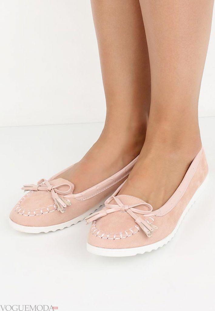 туфли лоферы розовые без каблука