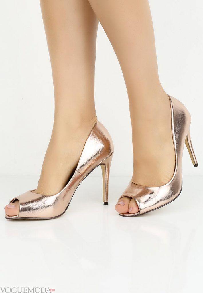 туфли с открытым носком золотые на каблуке