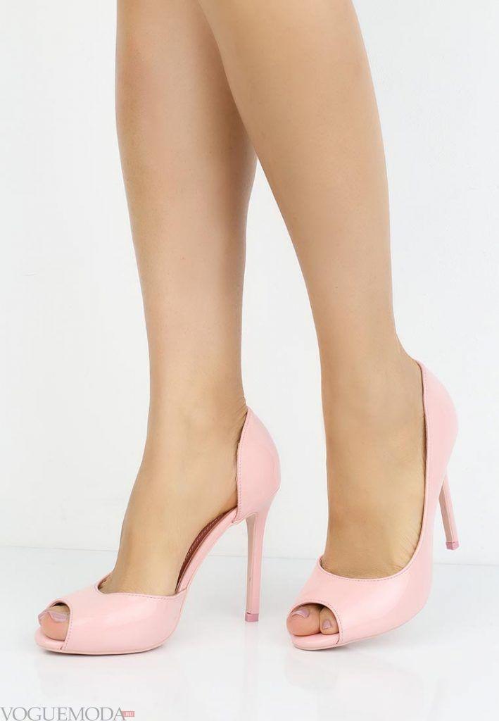 туфли с открытым носком розовые на каблуке