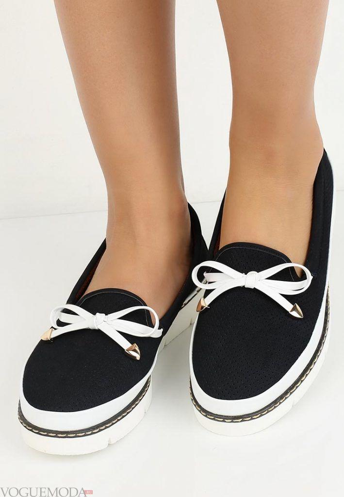 туфли лоферы с бантиком без каблука