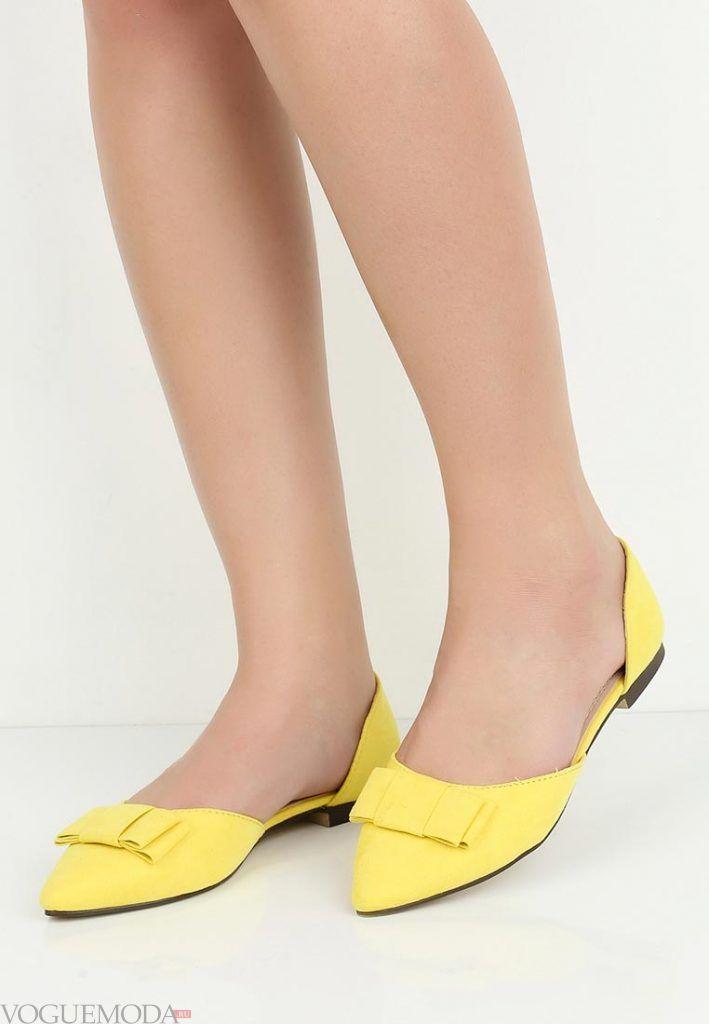 туфли балетки желтые без каблука