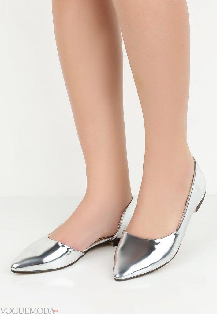 туфли балетки серебро без каблука