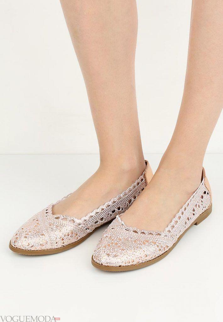 туфли балетки с принтом без каблука