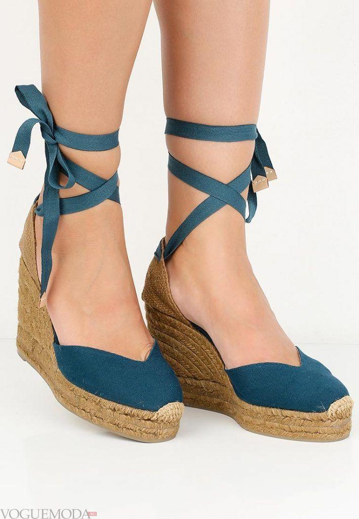 туфли на танкетке синие
