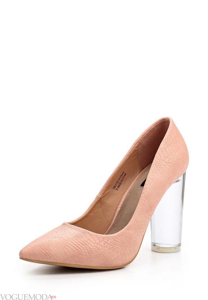 туфли со скульптурным прозрачным каблуком