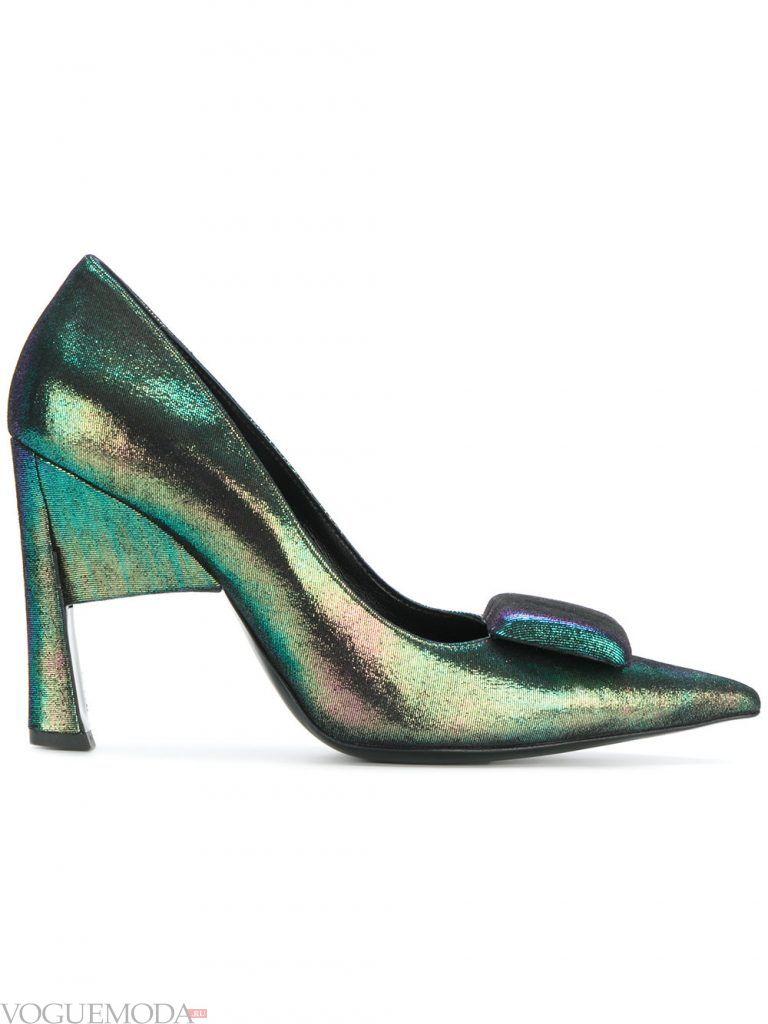 туфли со скульптурным каблуком блестящие
