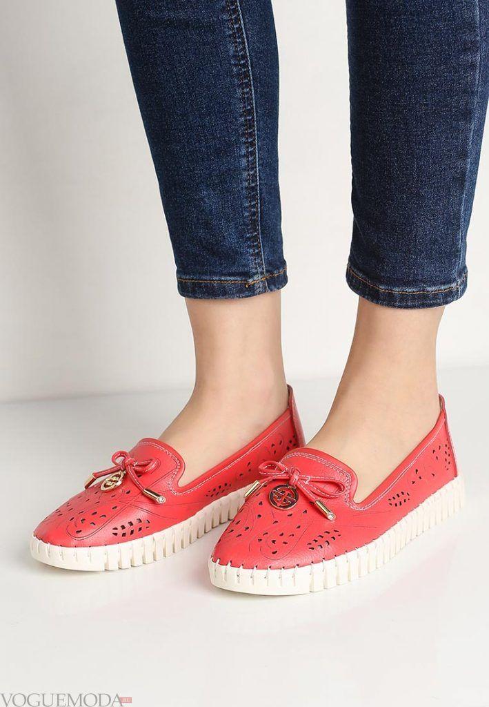 туфли лоферы алые без каблука