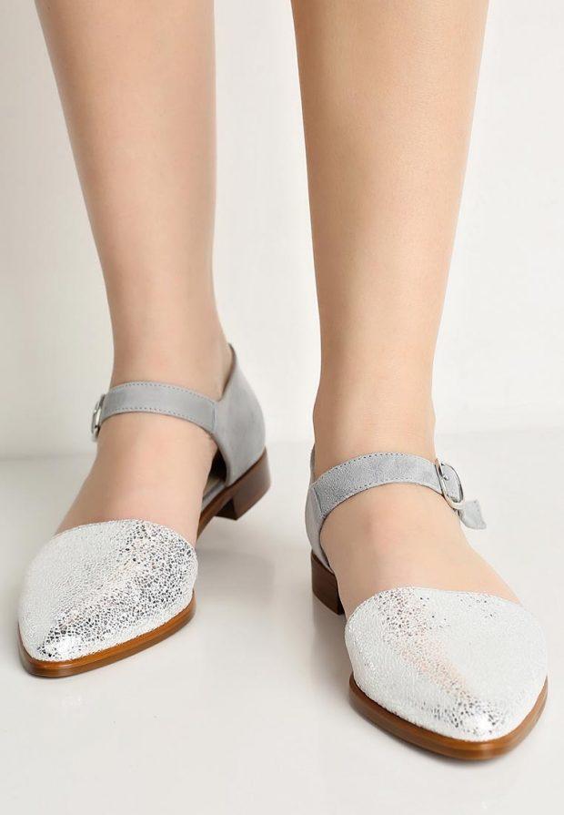 модные туфли серебро на низком каблуке