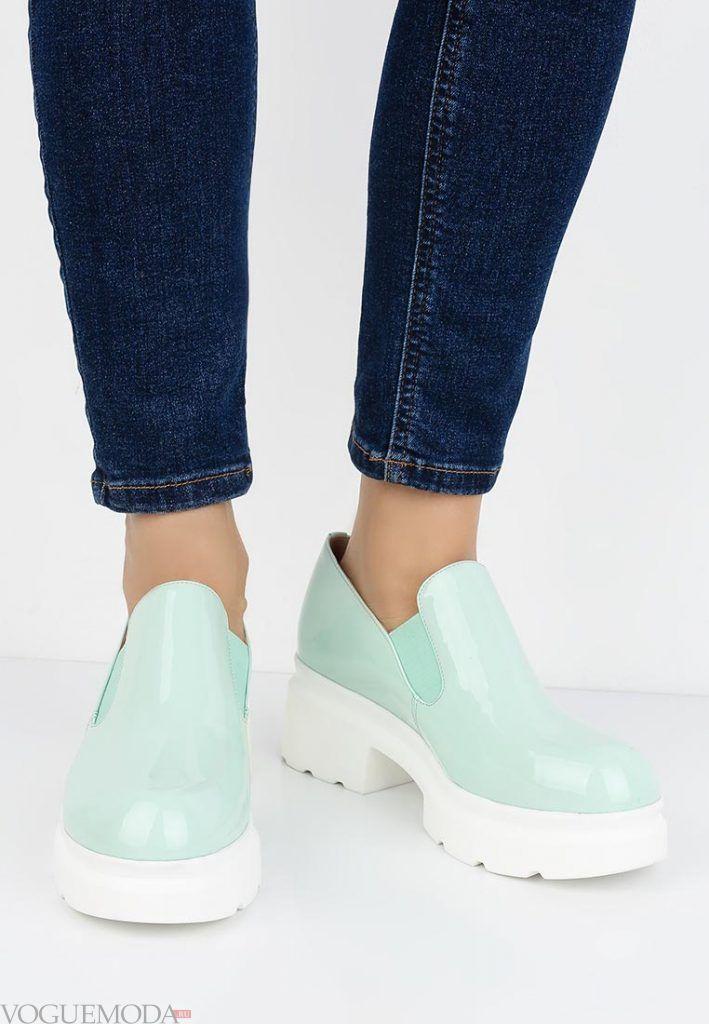 модные туфли мятные на низком каблуке