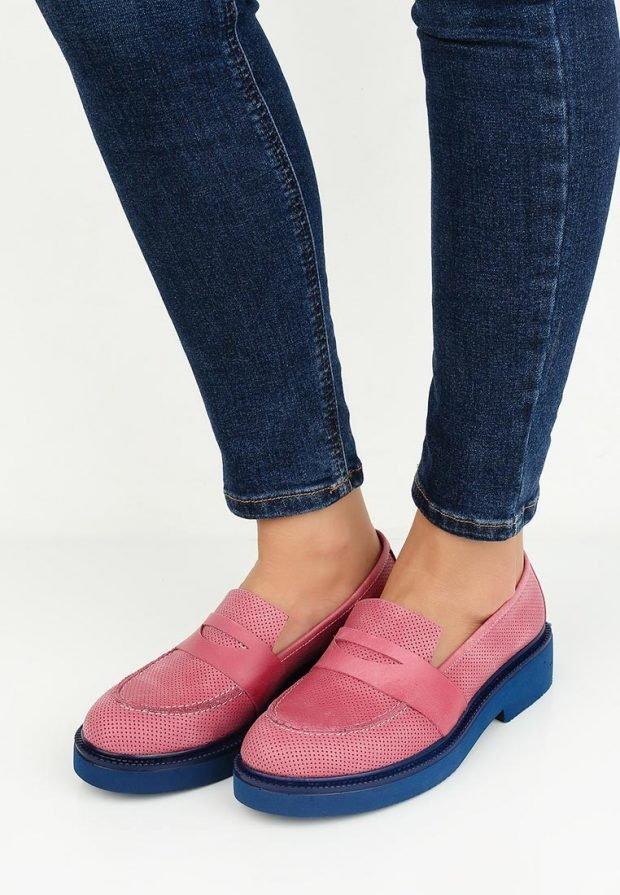 модные туфли двухцветные на низком каблуке