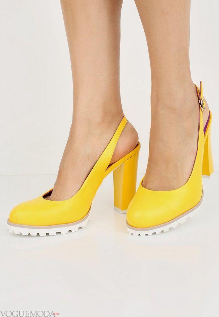 модные туфли желтые на каблуке