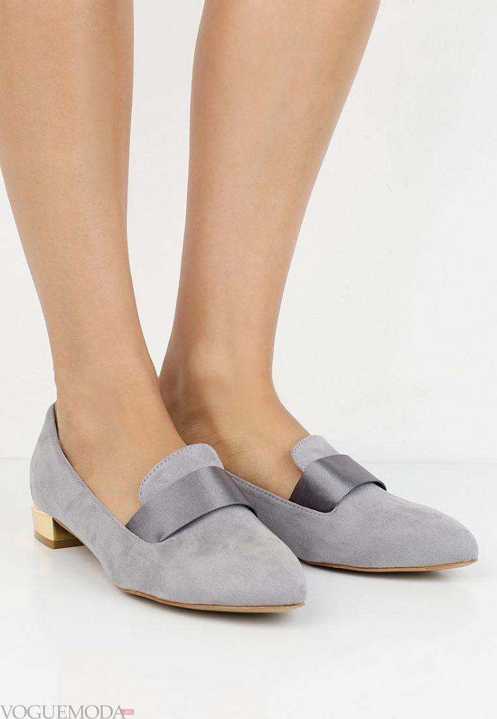 модные туфли серые на низком каблуке