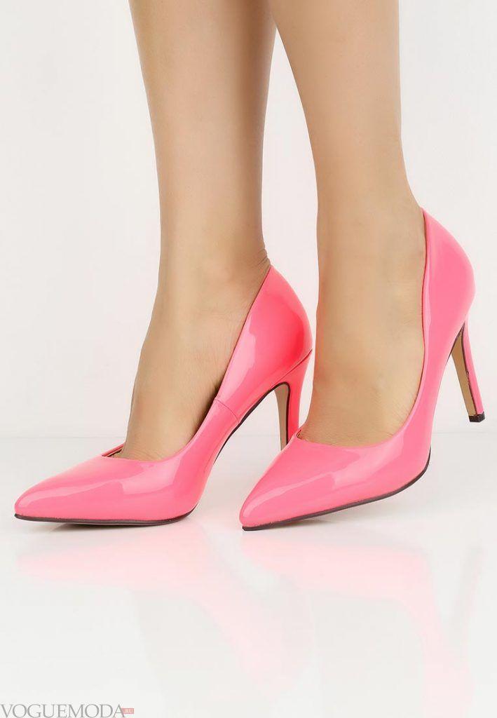 туфли лодочки розовые на каблуке