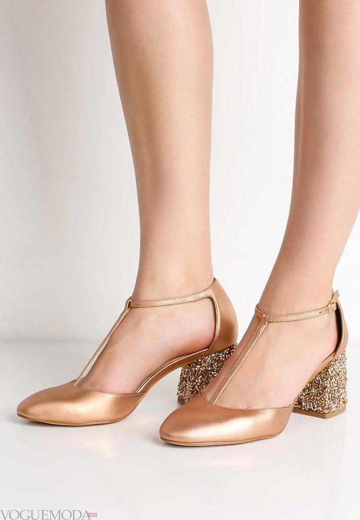 модные туфли золотые на каблуке