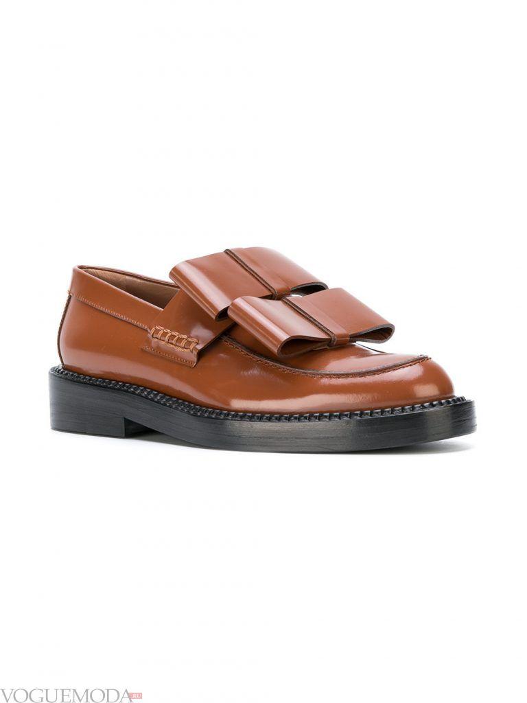 туфли лоферы коричневые без каблука