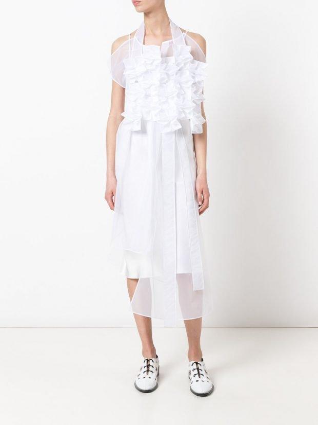 платье туника в стиле гранж асимметричная белая