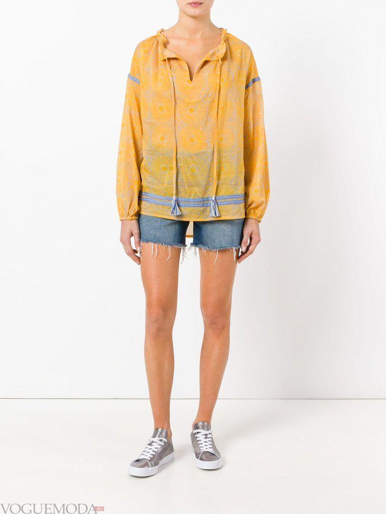 модная туника желтая