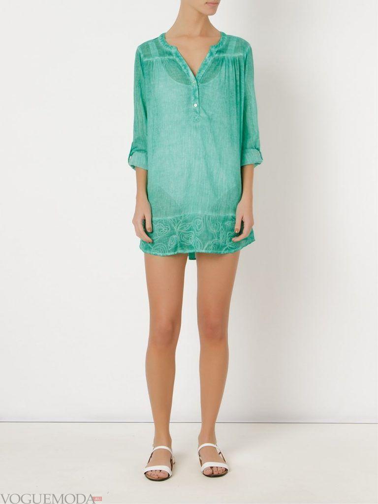 модная туника зеленая