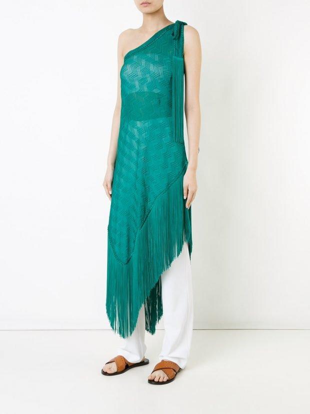 платье туника пляжная прозрачная зеленая