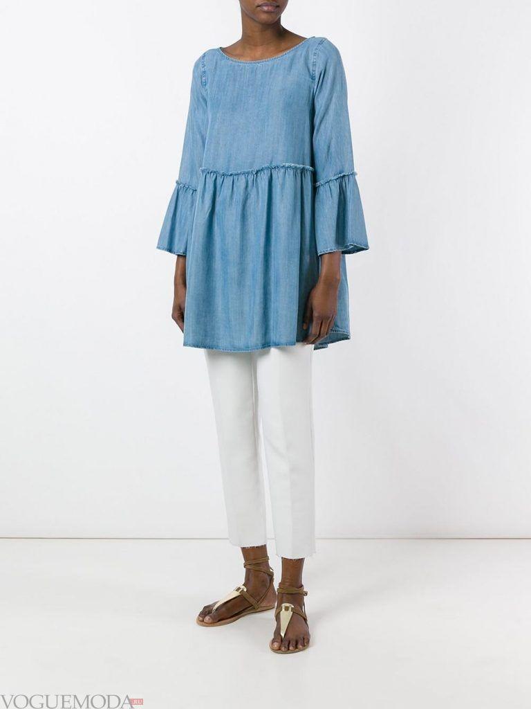 туника рубашка синяя