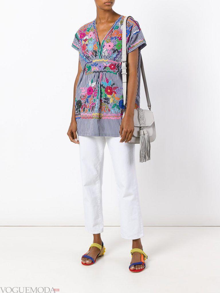 модная туника с цветочным принтом