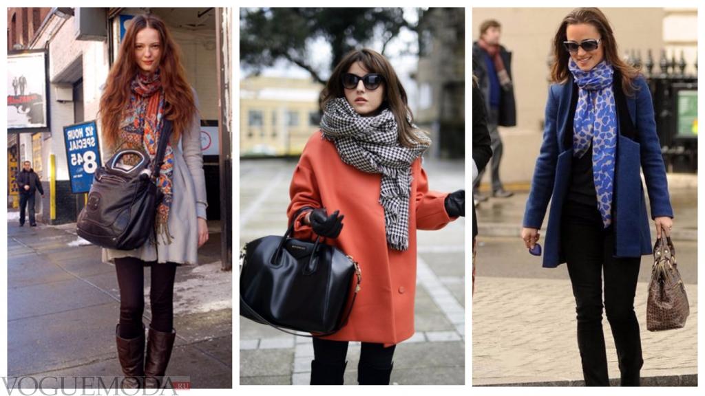 палантины с разными пальто