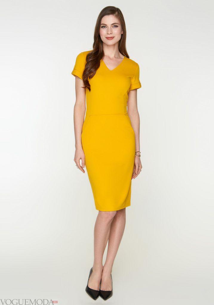 офисное желтое платье новинка