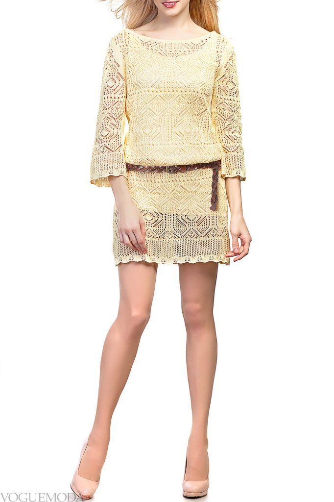 вязаное молочное платье новинка