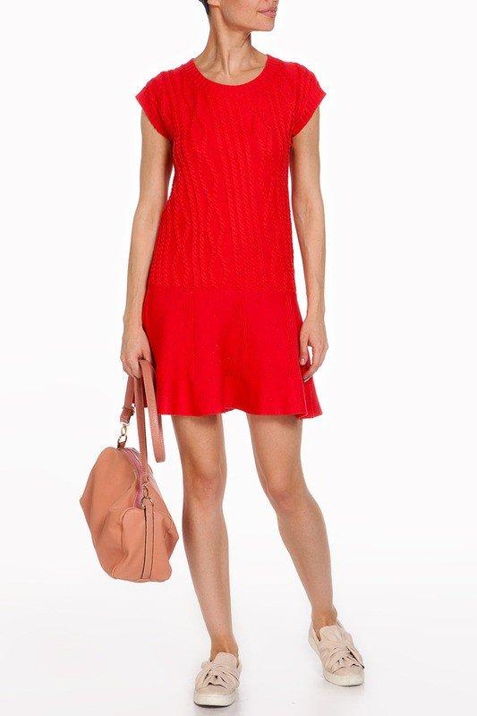 вязаное красное платье новинка