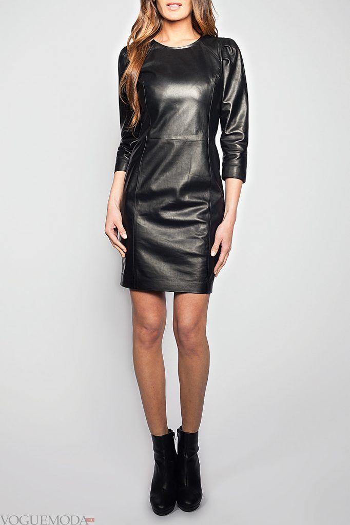 кожаное черное платье новинка